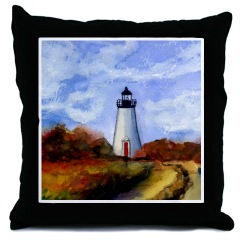 Cape Pogue Lighthouse Throw Pillow
