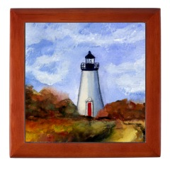 Cape Pogue Lighthouse Tile Box