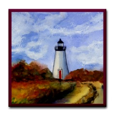 Cape Pogue Lighthouse Tile Coaster