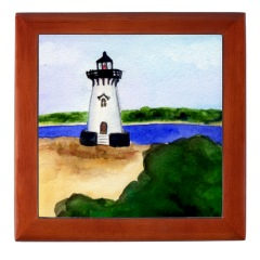 Edgartown Lighthouse Framed Tile
