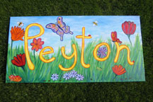 Payton's Name Painting - Flowers & Bugs